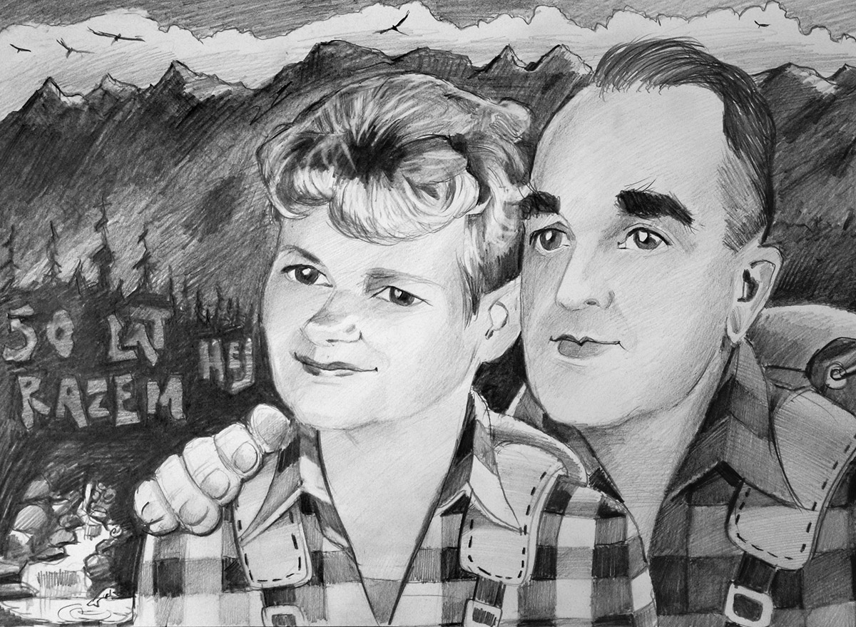Karykatura małżeństwa w górach