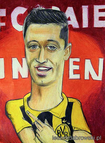 Karykatura Roberta Lewandowskiego w Borussia Dortmund