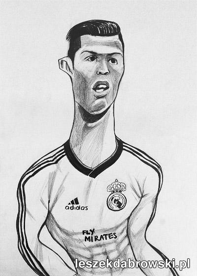 Czarno-biała karykatura Christiano Ronaldo
