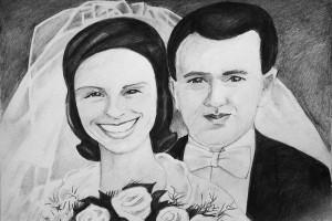 Karykatura weselna - państwo młodzi