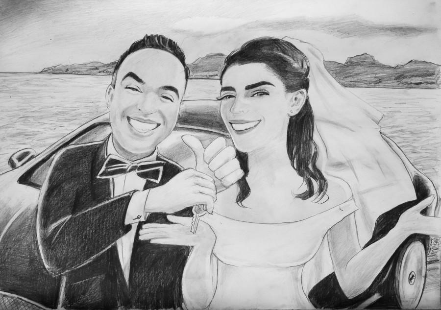 karykatura nowożeńców